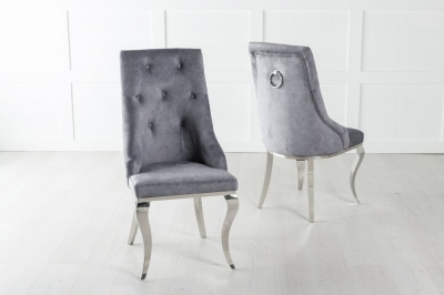 Premiere Grey Velvet Knockerback Ring Dining Chair With Chrome Legs