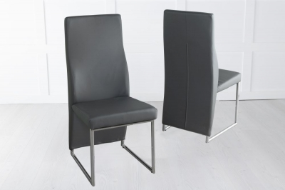 Enzo Dark Grey Faux Leather Dining Chair with Brushed Metal Base