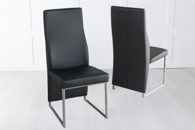 Enzo Black Faux Leather Dining Chair with Brushed Metal Base