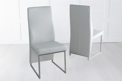 Enzo Light Grey Faux Leather Dining Chair with Brushed Metal Base