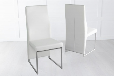 Enzo Cream Faux Leather Dining Chair with Brushed Metal Base