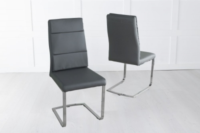 Miami Dark Grey Faux Leather Dining Chair with Brushed Metal Base