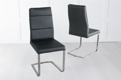 Miami Black Faux Leather Dining Chair with Brushed Metal Base