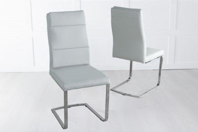 Miami Light Grey Faux Leather Dining Chair with Brushed Metal Base