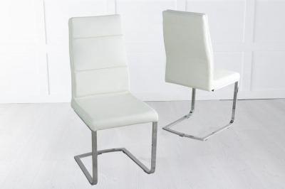 Miami Cream Faux Leather Dining Chair with Brushed Metal Base