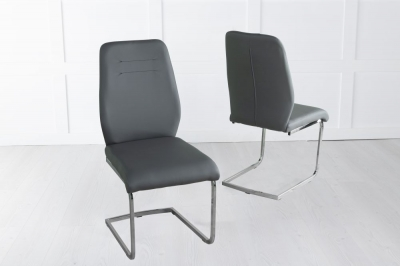 Oslo Dark Grey Faux Leather Swing Dining Chair with Brushed Metal Base