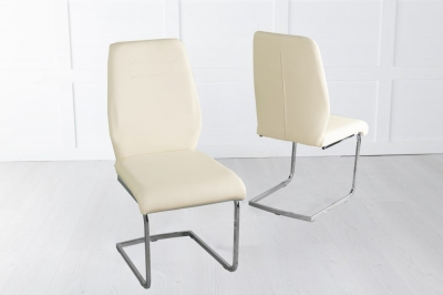 Oslo Cream Faux Leather Swing Dining Chair with Brushed Metal Base