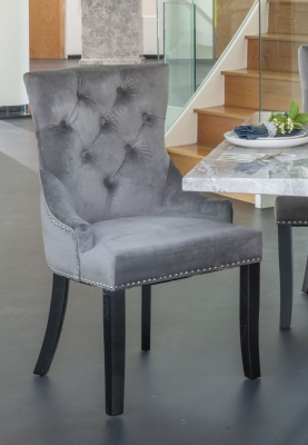 Grey Velvet Knockerback Dining Chair (Pair)