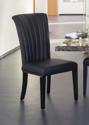 Urban Deco Cadiz Black Faux Leather Dining Chair (Pair)