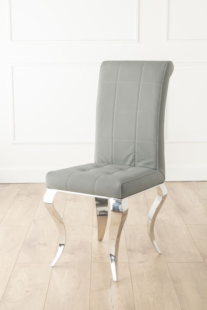 Luxor Grey Fabric Dining Chair with Chrome Legs