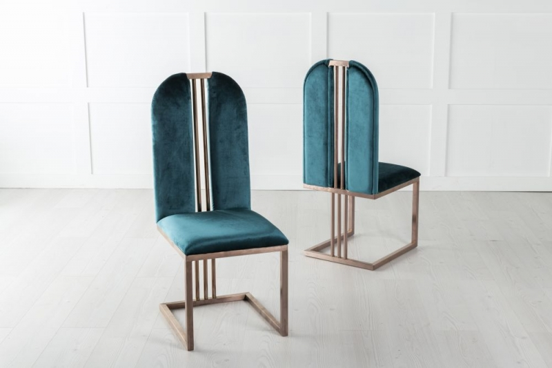 Troy Bronze Frame Green Velvet Dining Chair