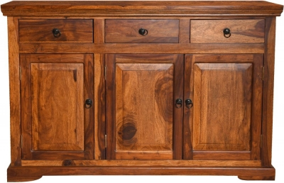 Ganga Indian Sheesham Wood 3 Door Medium Sideboard