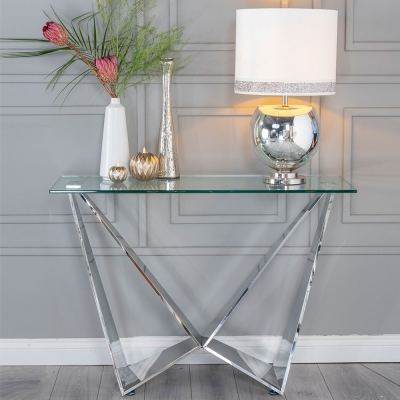 Urban Deco Jazz Glass and Chrome Console Table