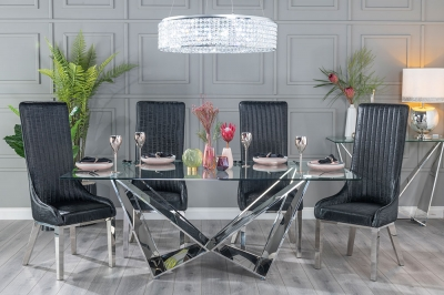Urban Deco Jazz 200cm Glass and Chrome Dining Table
