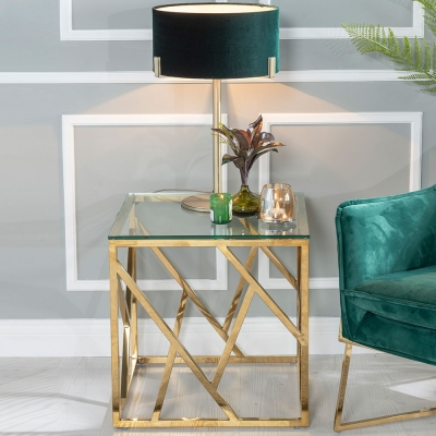 Urban Deco Maze Glass and Gold Side Table