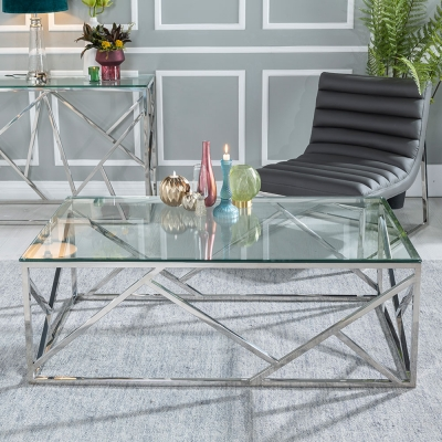 Urban Deco Maze Glass and Chrome Coffee Table