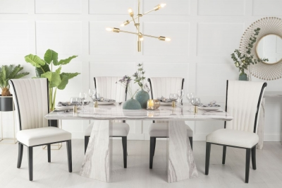 Urban Deco Midas 200cm Grey and White Marble Dining Table and 6 Cadiz White Chairs