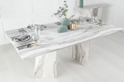 Urban Deco Midas 200cm Grey and White Marble Dining Table