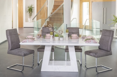 Urban Deco Milan 160cm White Marble Rectangular Dining Set with Donatella Grey Chairs