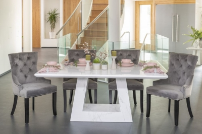 Buy Urban Deco Milan 160cm White Marble Dining Table with 4 Grey Knockerback Chairs and Get 2 Extra Chairs Worth £350 For FREE