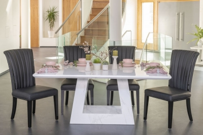 Buy Urban Deco Milan 180cm White Marble Dining Table with 4 Cadiz Black Chairs and Get 2 Extra Chairs Worth £358 For FREE