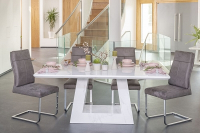 Urban Deco Milan 180cm White Marble Rectangular Dining Set with Donatella Grey Chairs