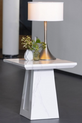 Urban Deco Milan White Marble Lamp Table