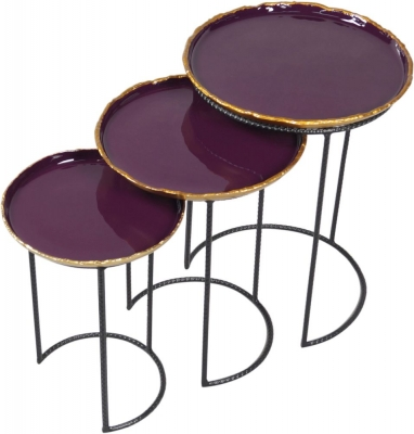 Urban Deco Agate Black Metal and Enamel Painted Nest of Tables