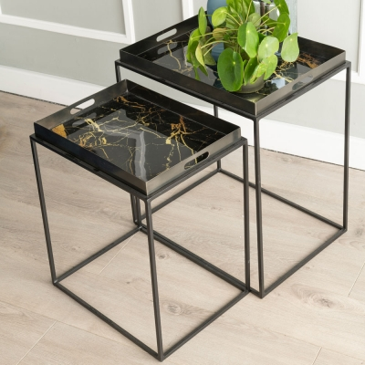 Urban Deco Amara Black Metal and Decal Marbel Effect Nest of Tray Tables