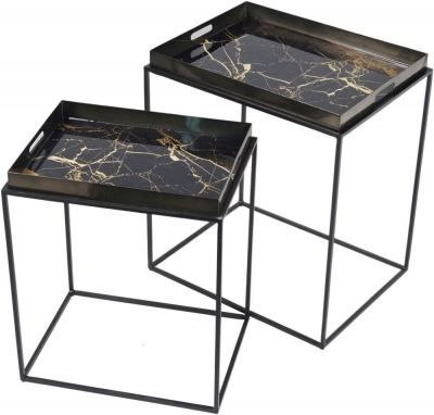 Urban Deco Amara Black Metal and Decal Marbel Effect Nest of Tables