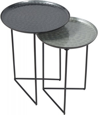 Urban Deco Aspen Black and Enamel Painted Nest of Tray Tables