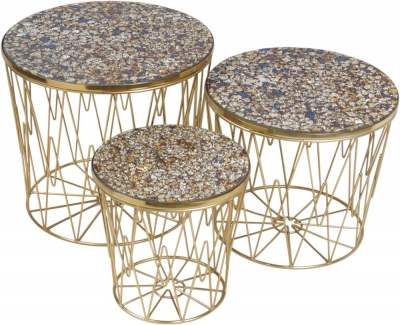 Urban Deco Calley Black Metal and Mosaic Nest of Tables