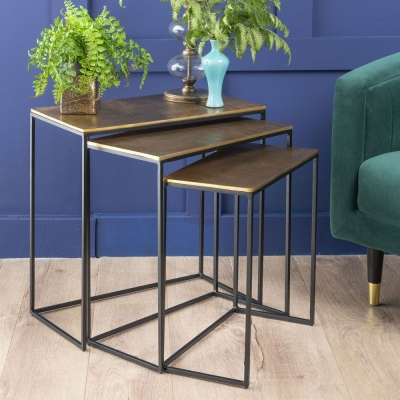 Urban Deco Cohen Black Metal and Hammered Brass Nest of Tables