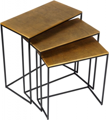 Urban Deco Cohen Black Metal and Brass Nest of Tables