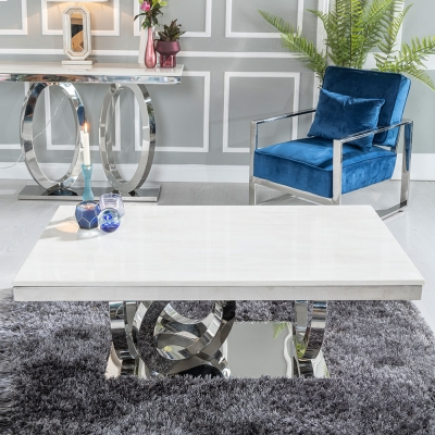 Urban Deco Orbit Cream Marble and Chrome Coffee Table