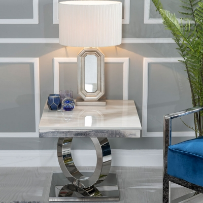 Urban Deco Orbit Cream Marble and Chrome Side Table
