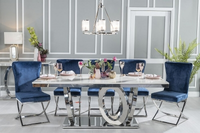 Buy Urban Deco Orbit 200cm Cream Marble and Chrome Dining Table with 4 Lyon Blue Fabric Chairs and Get 2 Extra Chairs Worth £438 For FREE