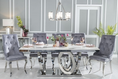 Urban Deco Orbit 200cm Cream Marble and Chrome Dining Table and 6 Premiere Grey Knockerback Chairs