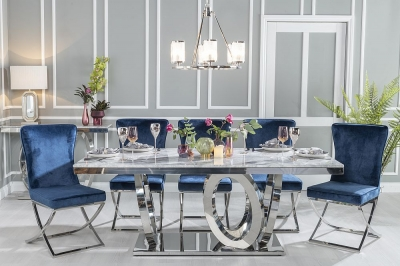 Urban Deco Orbit 200cm Grey Marble and Chrome Dining Table and 6 Lyon Blue Chairs