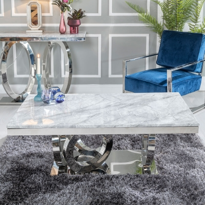 Urban Deco Orbit Grey Marble and Chrome Coffee Table