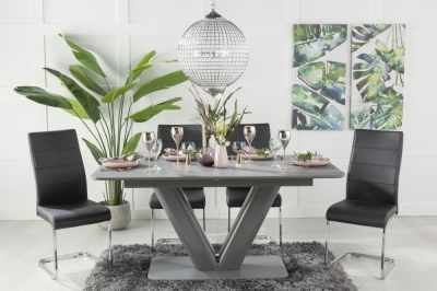 Urban Deco Panama Grey Glass 160-200cm Dining Table and 6 Ellis Black Chairs