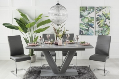 Urban Deco Panama Grey Glass 160-200cm Dining Table and 6 Ellis Grey Chairs