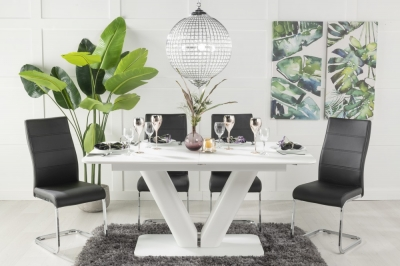 Urban Deco Panama White Glass 160-200cm Dining Table and 6 Ellis Black Chairs