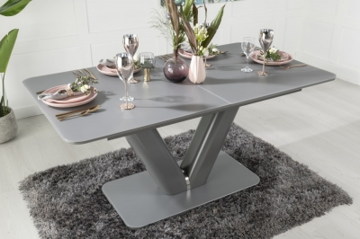 Urban Deco Panama Dark Grey Glass 160cm-200cm Extending Dining Table