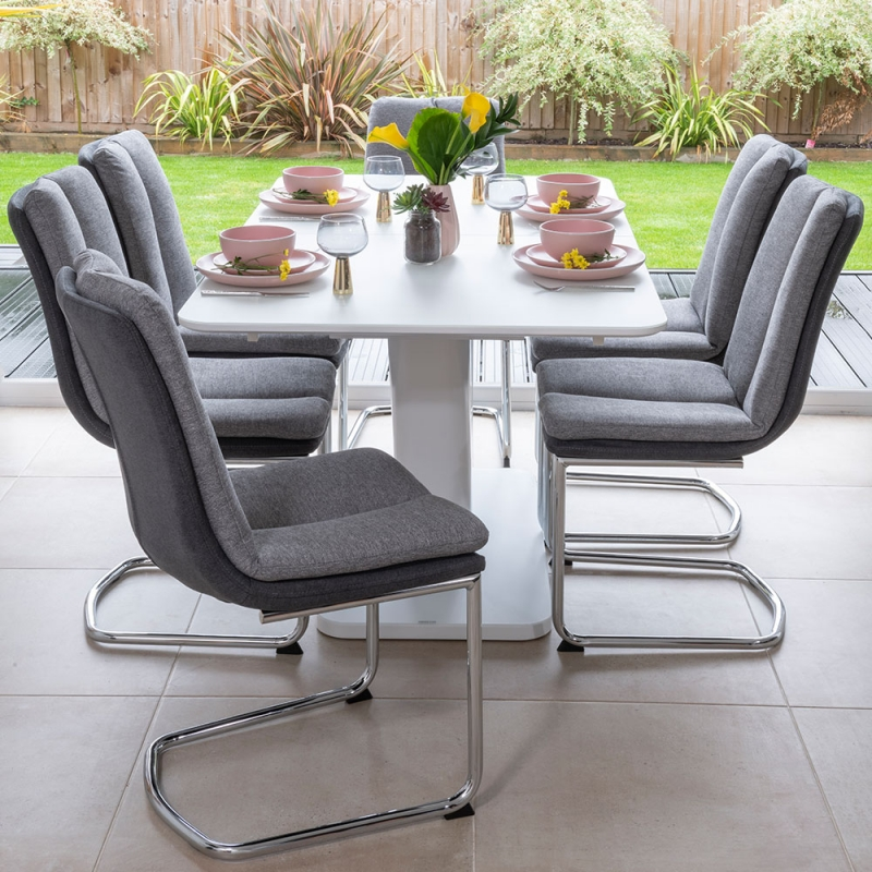 Urban Deco Panama White Glass 160-200cm Dining Table and 6 Tucson Grey Chairs