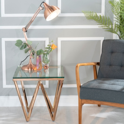 Urban Deco Prism Glass and Rose Gold Side Table