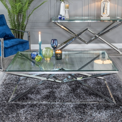 Urban Deco Pyramid Glass and Chrome Coffee Table