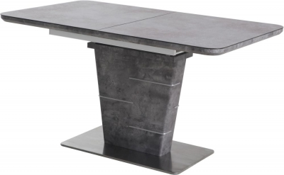 Urban Deco Rimini Ceramic Effect Black Glass Extending Dining Table