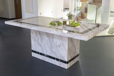 Urban Deco Rome 180cm Cream Marble Dining Table