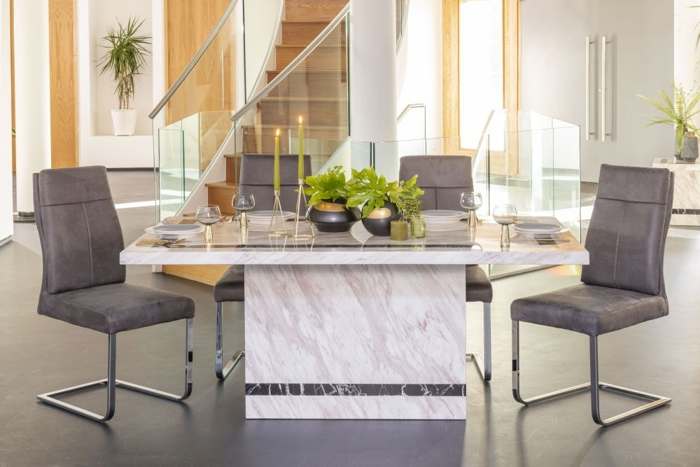 Urban Deco Rome 200cm Cream Marble Dining Table with Donatella Grey Chairs